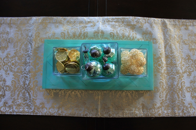 Mint and Gold Centerpiece