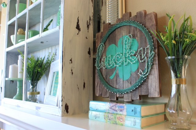 Lucky sign and distressed shelf